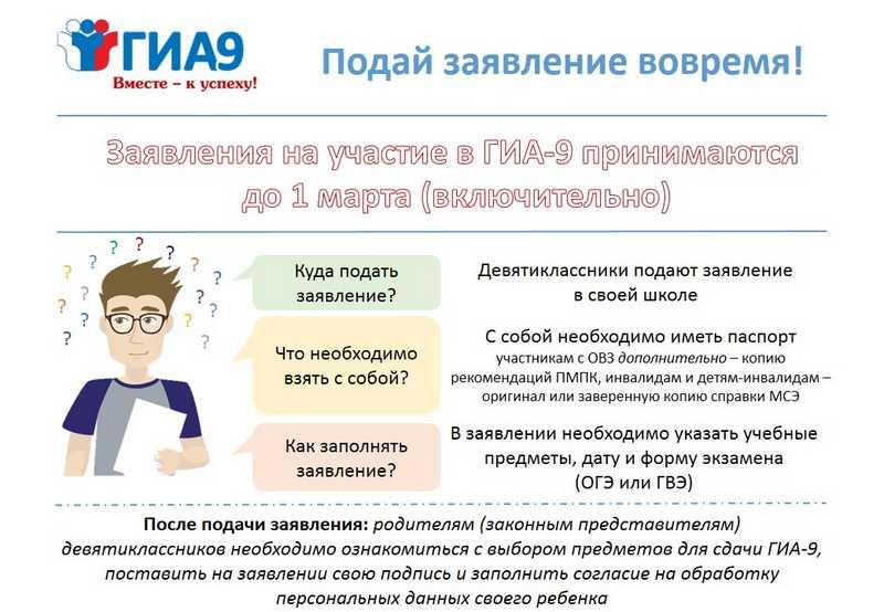 Сроки и место подачи заявления на ГИА-9